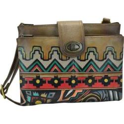Women's Anuschka RFID Blocking Double Zip Cross Body Organizer Antique Aztec