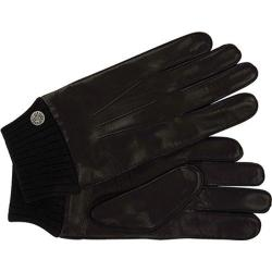 Men's Ben Sherman Leather Gloves with Knit Trim Black