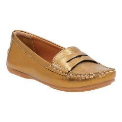 Women's Clarks Doraville Nest Penny Loafer Gold Metallic Leather
