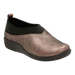 Women's Clarks Sillian Greer Slip-On Pewter Metallic Synthetic Nubuck