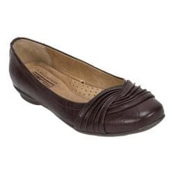 Women's Cliffs by White Mountain Hampton Pleated Ballerina Flat Brown Tumbled Smooth PU