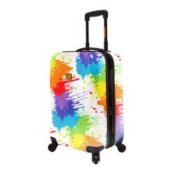 Loudmouth Luggage White Drop Cloth 22in Expandable Carry-On Spinner Multicolor/White