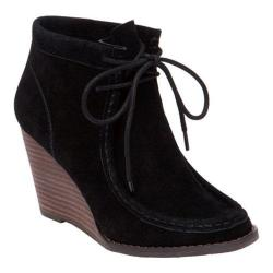 Women's Lucky Brand Ysabel Wedge Bootie Black Suede