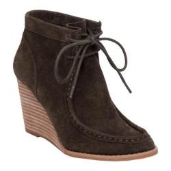 Women's Lucky Brand Ysabel Wedge Bootie Dark Moss Suede