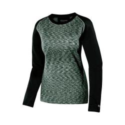 Women's Terramar Tri Color Melange Fleece Long Sleeve T-Shirt Black Tricolor