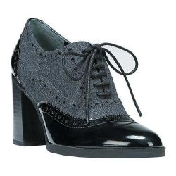 Women's Franco Sarto Maze Heeled Oxford Black/Grey Patent Polyurethane