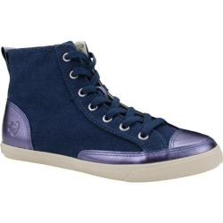 Women's Burnetie High Top Vintage Sneaker 003263 Blue Textile/Leather