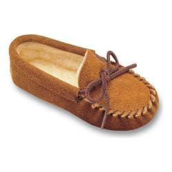 Children's Minnetonka Pile Lined Slipper Brown Suede