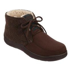 Men's Dearfoams Microfiber Suede Boot Slipper with Memory Foam Coffee
