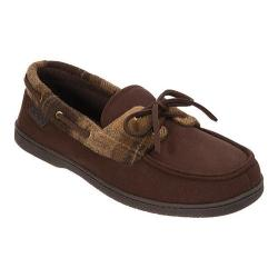 Men's Dearfoams Microsuede Boater Moccasin with Memory Foam Coffee