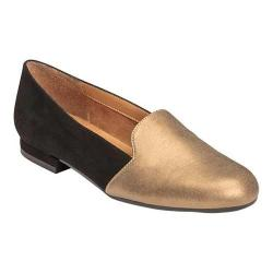 Women's A2 by Aerosoles Good Call Flat Black Gold Faux Leather Combo