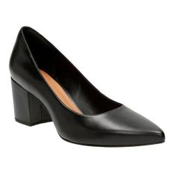 Women's Clarks Pravana Rose Pump Black Full Grain Leather