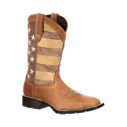 Men's Durango Boot DDB0087 12in Mustang Distressed Union Flag Boot Brown/Distressed Union Flag Leather/Faux Leather