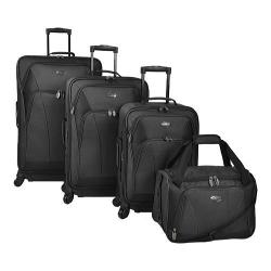 US Traveler Saratoga 4-Piece Spinner Luggage Set Black