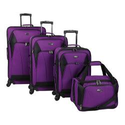US Traveler Saratoga 4-Piece Spinner Luggage Set Purple