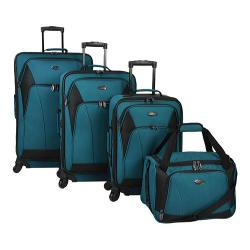 US Traveler Saratoga 4-Piece Spinner Luggage Set Teal