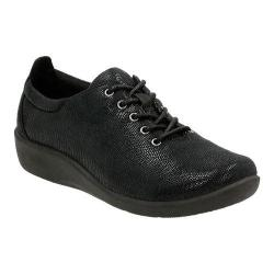Women's Clarks Sillian Tino Oxford Black Mini Lizard Synthetic