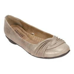 Women's Cliffs by White Mountain Hampton Pleated Ballerina Flat Gold Glitter Suede Fabric