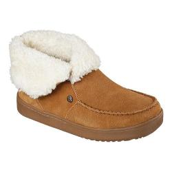 Women's Skechers BOBS Cozy High Mittens Bootie Slipper Chestnut