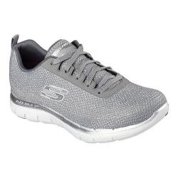 Women's Skechers Flex Appeal 2.0 Metal Madness Training Shoe Gray/Silver