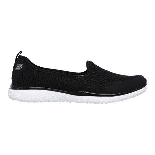 Women's Skechers Microburst It's My Life Slip On Sneaker Black/White - Thumbnail 1