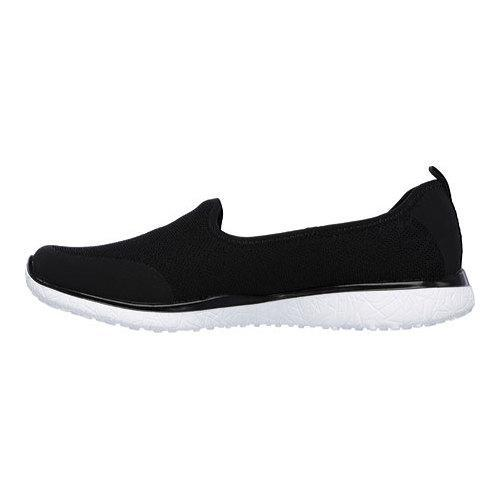 Women's Skechers Microburst It's My Life Slip On Sneaker Black/White - Thumbnail 2
