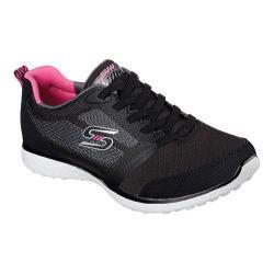 Women's Skechers Microburst Bungee Lace Sneaker Black/White