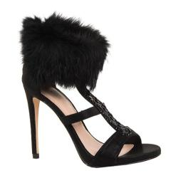 Women's Lauren Lorraine Angela Fur Collar Sandal Black Fabric/Polyurethane