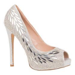 Women's Lauren Lorraine Estelle Peep Toe Pump Silver Fabric/Polyurethane