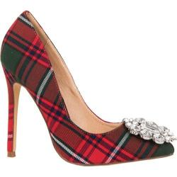 Women's Lauren Lorraine Giselle Plaid Pump Red Plaid Fabric/Polyurethane