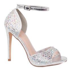 Women's Lauren Lorraine Lydia Ankle Strap Sandal Silver Fabric/Polyurethane
