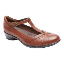 Women's Rockport Cobb Hill Valentina T-Strap Shoe Almond Full Grain Leather