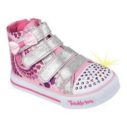 Girls' Skechers Twinkle Toes Shuffles Lil Skippers High Top Pink/Hot Pink