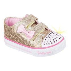 Girls' Skechers Twinkle Toes Shuffles Starlight Style Sneaker Gold/Pink