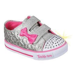 Girls' Skechers Twinkle Toes Shuffles Starlight Style Sneaker Silver/Hot Pink