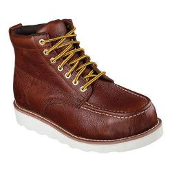 Men's Skechers Work Relaxed Fit Pettus Grafford Steel Toe Boot Red/Brown