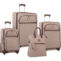 Women's Anne Klein Calgary 4-Piece Luggage Set Tan/Brown Plaid