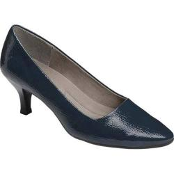 Women's A2 by Aerosoles Foreward Pump Dark Blue Faux Patent Leather