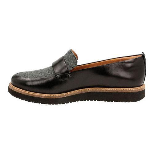 Women's Clarks Glick Avalee Loafer Grey Textile/Black Leather Combination - Thumbnail 2