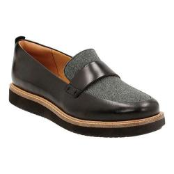 Women's Clarks Glick Avalee Loafer Grey Textile/Black Leather Combination|https://ak1.ostkcdn.com/images/products/127/955/P19499527.jpg?impolicy=medium