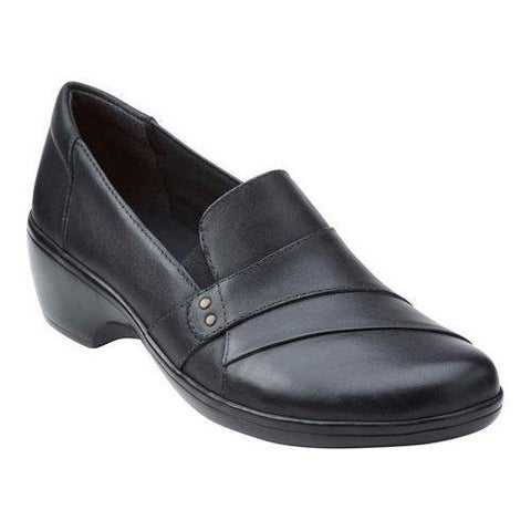 Women's Clarks May Marigold Slip-On Black Cow Full Grain Leather