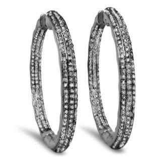 Noori 10k Black Gold 1 1/2ct TDW Diamond Inside-outside Hoop Earrings