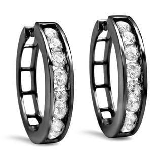 Noori 14k Black Gold 1ct TDW Diamond Hoop Earrings