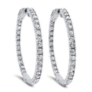 Noori 14k Gold 1 1/2ct TDW Diamond Hoop Earrings