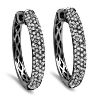 Noori 10k Black Gold 1ct TDW Diamond Hoop Earrings (I-J, I2-I3)