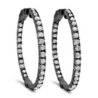 Noori 14k Black Gold 1 1/2ct TDW Diamond Hoop Earrings (I-J, SI2-I1)