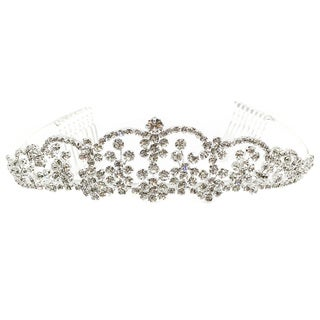 Kate Marie Women's Margery Silver Metal and Acrylic Rhinestone Tiara
