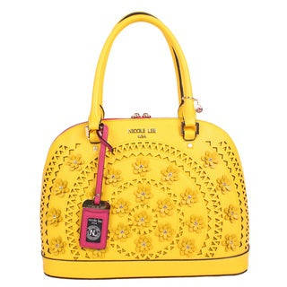 Nicole Lee Farley Yellow Faux Leather Flowery Dome Satchel Handbag