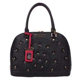 Nicole Lee Farley Flowery Dome Black Satchel Handbag