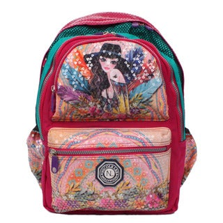 Nicole Lee Hailee Sandra Goes Bohemian Multicolor Nylon Sequined Laptop Backpack